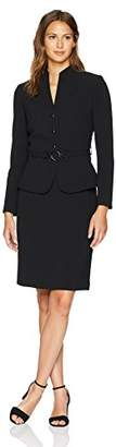 Tahari by Arthur S. Levine Women's Stand Collar 3 Button Belted Jacket Skirt Suit