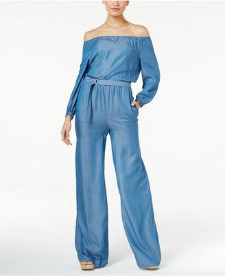 MICHAEL Michael Kors Off-The-Shoulder Wide-Leg Denim Jumpsuit $165 thestylecure.com