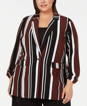 Alfani Plus Size Printed One-Button Blazer, Created for Macy's