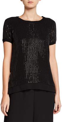 Donna Karan Short-Sleeve Sequin Blouse