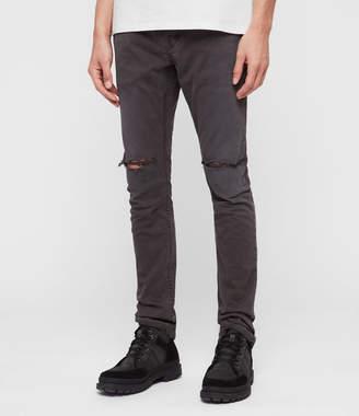 AllSaints Rex Twill Damaged Slim Jeans, Pewter