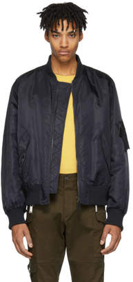 Yves Salomon Navy Fur-Lined Bomber Jacket