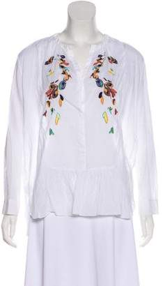 Megan Park Embroidered Long Sleeve Blouse