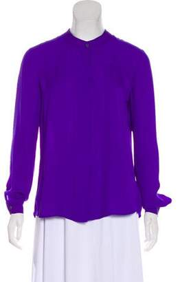 Theory Silk Long Sleeve Button-Up Top