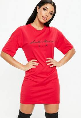 Missguided Red Santa Monica Graphic Oversized Jersey T Shirt Dress