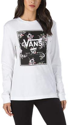 Boxed Logo Floral Long Sleeve Boyfriend T-Shirt