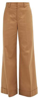 Brunello Cucinelli Tailored Wide Leg Cotton Blend Twill Trousers - Womens - Mid Brown