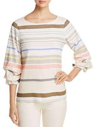 Lafayette 148 New York Winston Striped Ruche-Sleeve Blouse