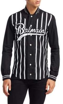 Balmain Logo Baseball Button-Down Shirt