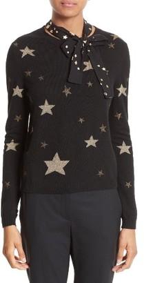 Women's Red Valentino Tie Neck Star Sweater $595 thestylecure.com