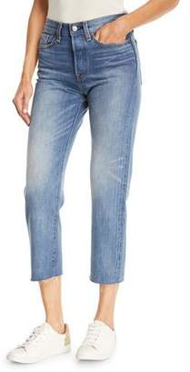 Levi's Premium Partners in Crime Wedgie-Icon Fit Straight-Leg Jeans w/ Raw-Edge Hem