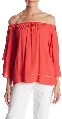 Muche et Muchette Off-the-Shoulder Tiered Grommet Sleeve Blouse