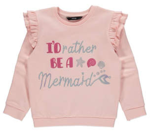 George Pink Glitter Sequin Slogan Frill Sweatshirt