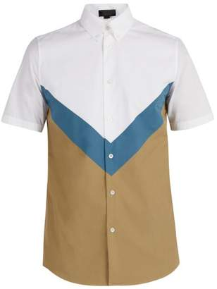 Stella McCartney Chevron Short Sleeved Cotton Shirt - Mens - White Multi