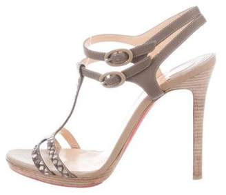 Christian Louboutin Snakeskin Leather-Accented Sandals