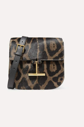 Tom Ford Tara Mini Leopard-print Calf Hair And Leather Shoulder Bag - Black