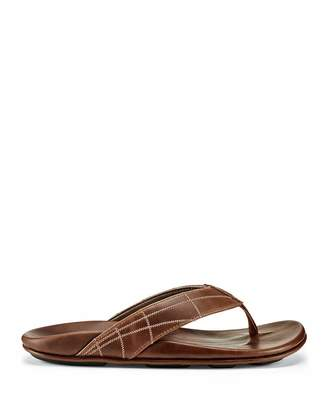Men's Hokulea Kia Embrodiered Leather Thong Sandals