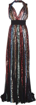 Elie Saab Embroidered Halter Gown