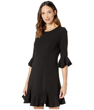 Adrianna Papell Knit Crepe Ruffled Shift Dress