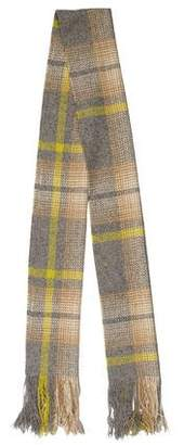 Burberry Cashmere Patterned Fringe Scarf