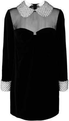 Tom Ford embellished trim velvet shift dress