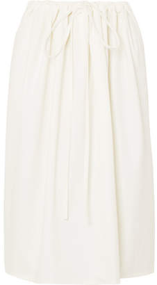 Atlantique Ascoli Cottage Ruched Cotton-poplin Skirt - Cream
