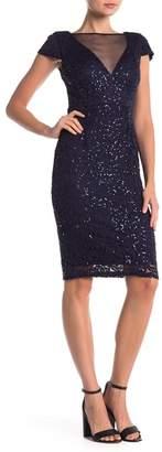 Marina Mesh Neck Embroidered Dress