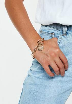 Missguided Gold Look Chunky Charm Wristwear