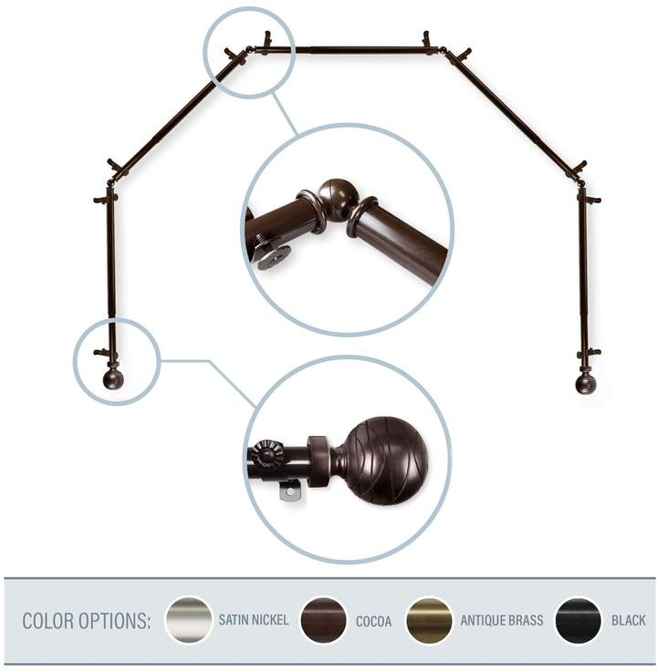 Arman Cocoa 5-Sided Bay Window Curtain Rod