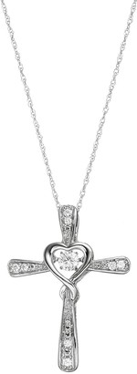 Sterling Silver Lab-Created White Sapphire Cross Pendant Necklace