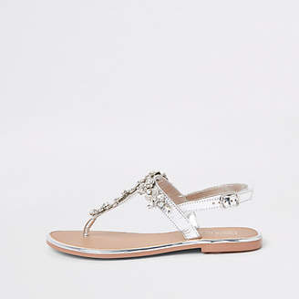 River Island Silver leather jewel embellished flat sandals