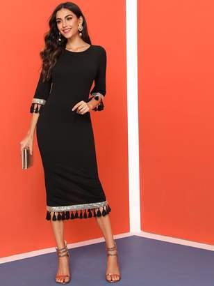 Shein Sequin Detail Tassel Trim Slit Back Dress