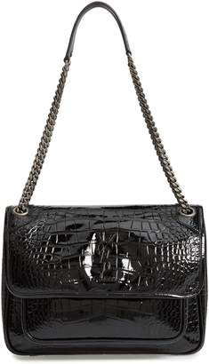 Saint Laurent Medium Niki Croc Embossed Lambskin Leather Shoulder Bag