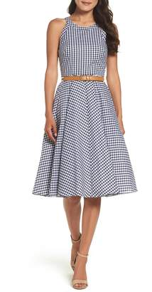Eliza J Belted Halter Fit & Flare Dress