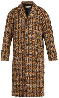 Marni Houndstooth Wool Blend Tweed Coat - Mens - Brown