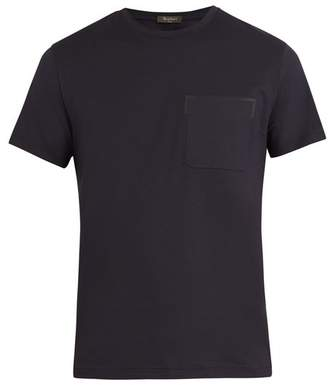 Berluti - Crew Neck Cotton And Leather T Shirt - Mens - Navy