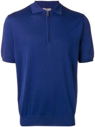 Canali zip-up collar polo shirt