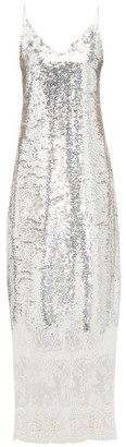 Erdem Arden Lace Trim Sequinned Slip Dress - Womens - Silver