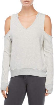 Pam & Gela Cold Shoulder V-Neck Sweatshirt