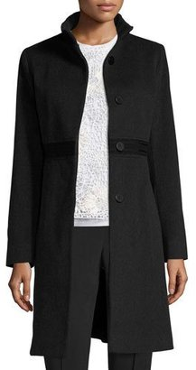 Fleurette Wool Lace-Trim Coat, Oxford $995 thestylecure.com