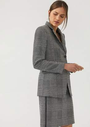 Emporio Armani Houndstooth Fabric Single-Breasted Jacket With Crystals