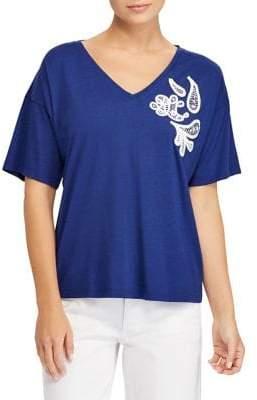 Lauren Ralph Lauren Lace-Embroidered Jersey Top