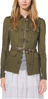 Michael Kors Crushed-Cotton Cargo Jacket