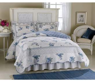 American Traditions Rose Blossom Blue Full / Queen Quilt