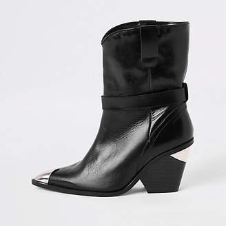 River Island Black leather western ankle boots