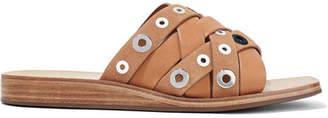 Rag & Bone Hartley Eyelet-embellished Leather And Suede Slides - Tan