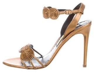 Rupert Sanderson Metallic Ankle-Strap Sandals