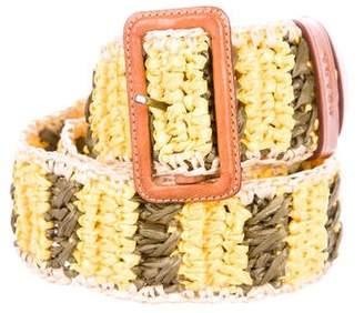 Prada Striped Straw Belt