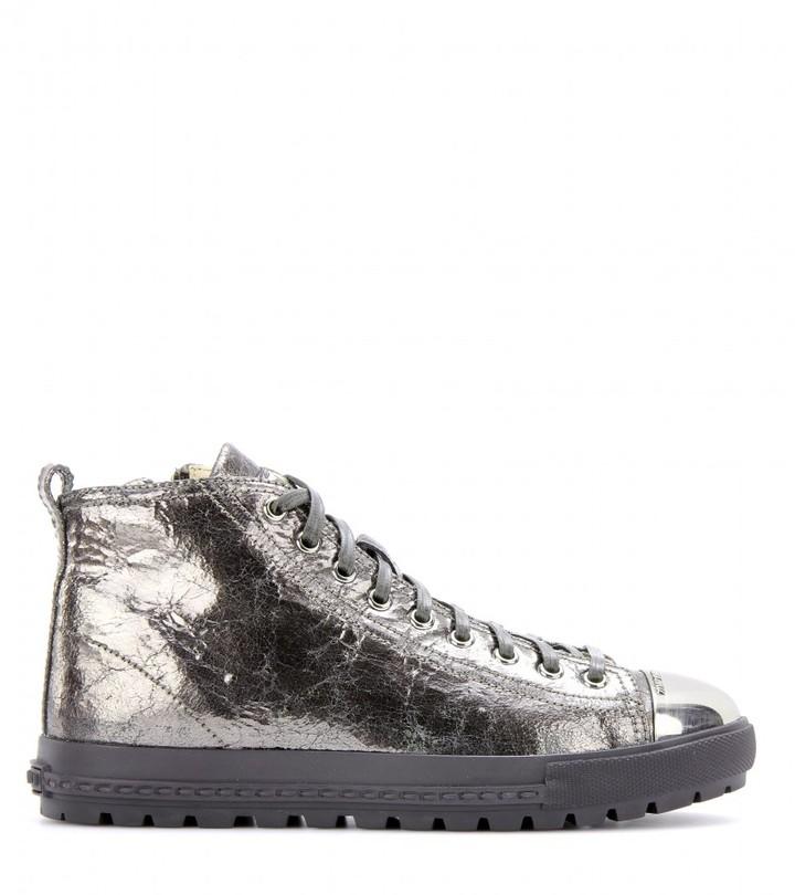 Miu Miu Metallic-leather sneakers with metal toe cap