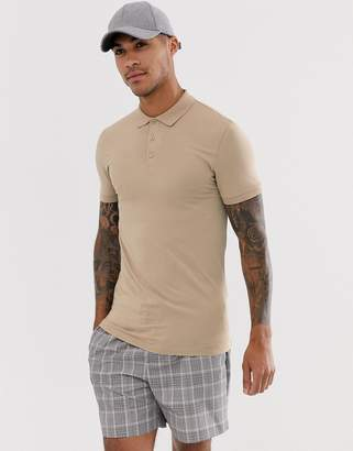BEIGE Asos Design ASOS DESIGN muscle fit jersey polo in